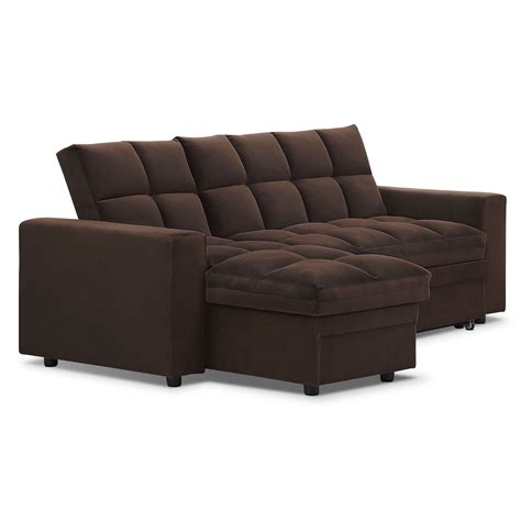 metro 2 pc chaise sofa bed w storage