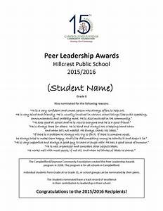 Certificate Of Recognition Examples Peer Leadership Awards Campbellford Seymour Community