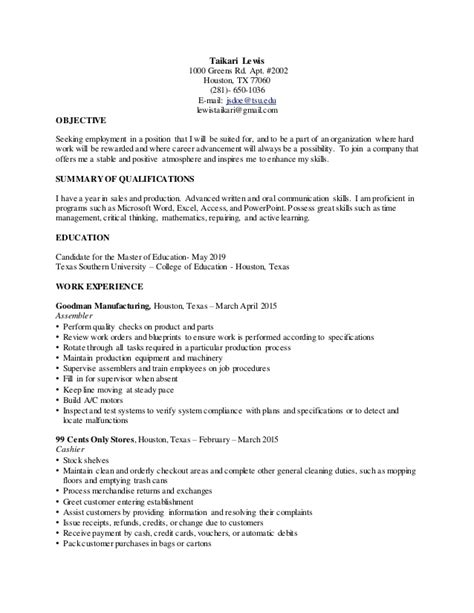 official resume for college