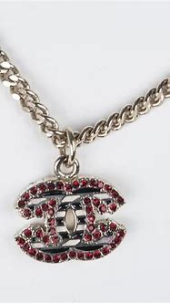 CHANEL Enamel Classic CC Logo Red Chrystal Chain Necklace