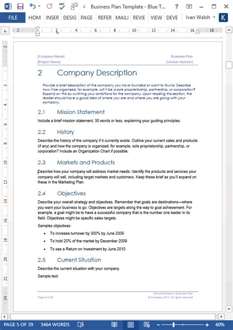 Business Plan Template Word Business Plan Templates 40 Page Ms Word 10 Free Excel