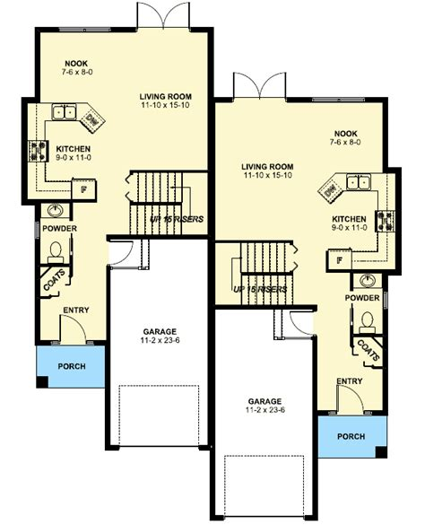 duplex house plan for the small narrow lot 67718mg 2nd