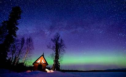 Sky Night Cabin Starry Winter Wallpapers Background