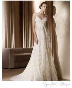 spaghetti strap lace wedding dress onewed com