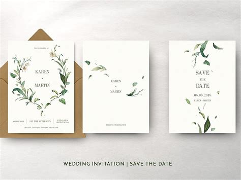 Green Foliage Wedding Suite by Invitations Dribbble