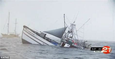 Tuna Boat Sinks by Cat Clings To Sinking Tuna Boat Rather Than Get His