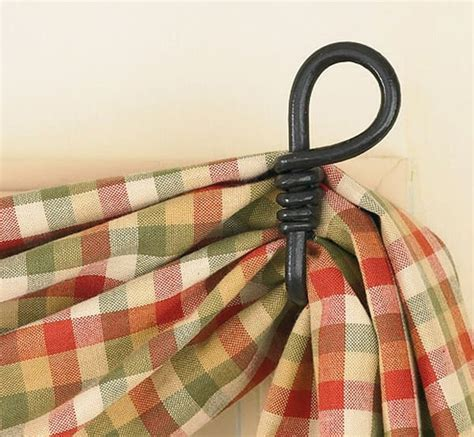 Country Kitchen Decorating Ideas - natural iron loop curtain hooks