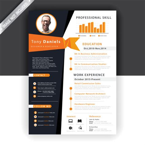 Catch your potential employers' eyes with this creative design orange infographic resume template. Abstract orange resume template | Free Vector