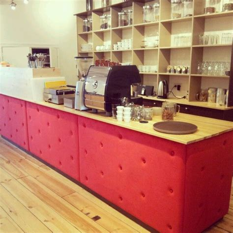 Coffee shop design, not only include the cafe layout, but also the materials for the display fixtures. Coffee counter with cabinet by dns design (With images) | Coffee shop counter, Coffee counter ...