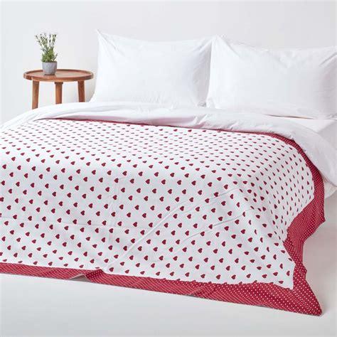 cotton red heart decorative sofa throw