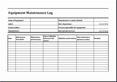 employee equipment inventory sheet excel templates