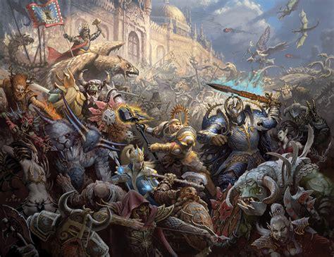Fantasy Battle Wallpaper 1920x1080 War Battle Empire Chaos Magi Warriors Dwarves Griffins Orcs Elves Gretchin Castle Magic Assault