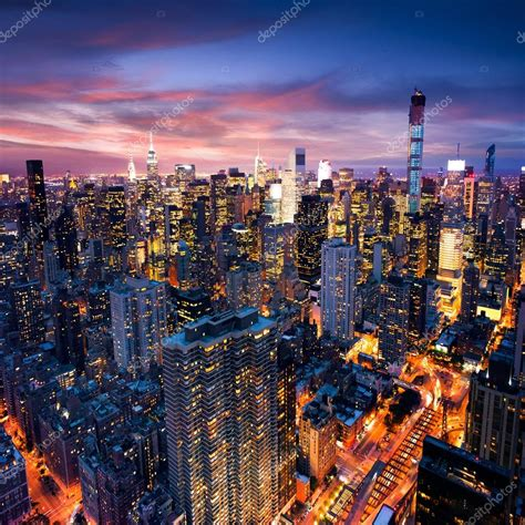 New York City - beautiful colorful sunset over manhattan ...