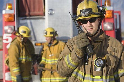 Portrait Of A Firefighter Talking On Radio Stock Image ...
