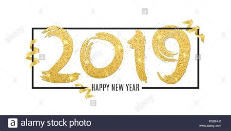 Happy New Year 2019. Numbers Of Golden Glitters In Frame