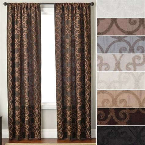 108 quot istanbul scroll embroidered rod pocket curtain in slate for the home