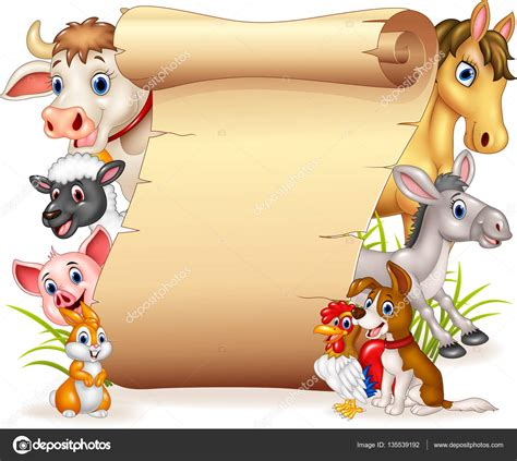 You can copy, modify, distribute and perform the work, even for commercial purposes, all without asking permission. Cartoon funny farm animals with blank sign — Stock Vector ...