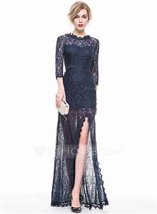 a line princess scoop neck floor length lace evening dress With robe de cocktail combiné avec hipanema occasion