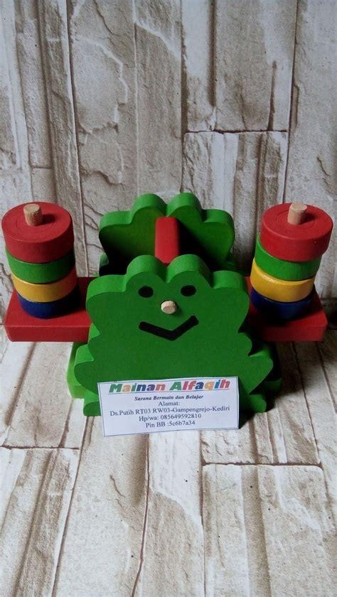 jual mainan anak edukatif mainan edukasi mainan kayu timbangan bentuk katak di lapak