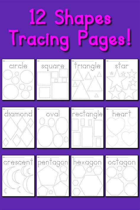 shapes tracing worksheets circles squares triangles