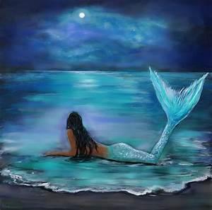 Mermaid Moon And Stars Painting by Leslie Allen