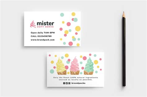 ice cream shop business card business card templates