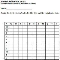 multiplication grid worksheet  images