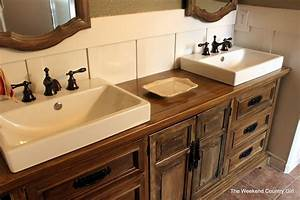 turning a dresser into a bathroom vanity the weekend With how to make a bathroom vanity from a dresser