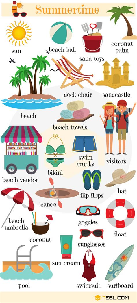 Summer Words: Summer Vocabulary Words With Pictures - 7 E S L