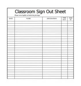Sample Sign Out Sheet Template