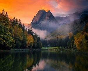 Lake, Mountain, Forest, Germany, Mist, Sunset, Fall, Trees