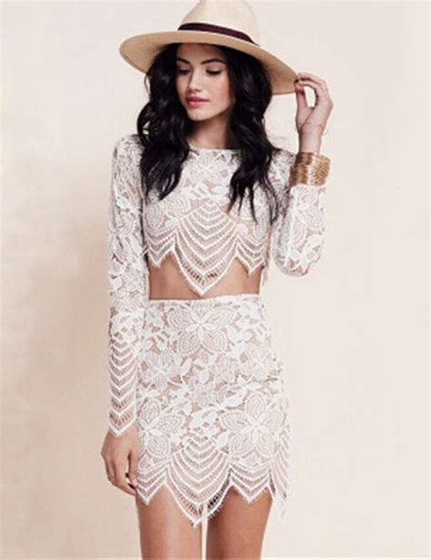Cute women two pieces outfits for love and lemons 2 piece bodycon dress Sexy club party wear ...