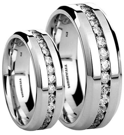 his and hers 6mm 8mm created diamonds titanium wedding engagement ring ebay