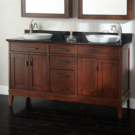 Bathroom Vanities 60 Sink by 60 Quot Tobacco Vanity With Vessel Sinks Bathroom