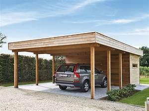 Carport of garage in hout met berging of fietsstalling