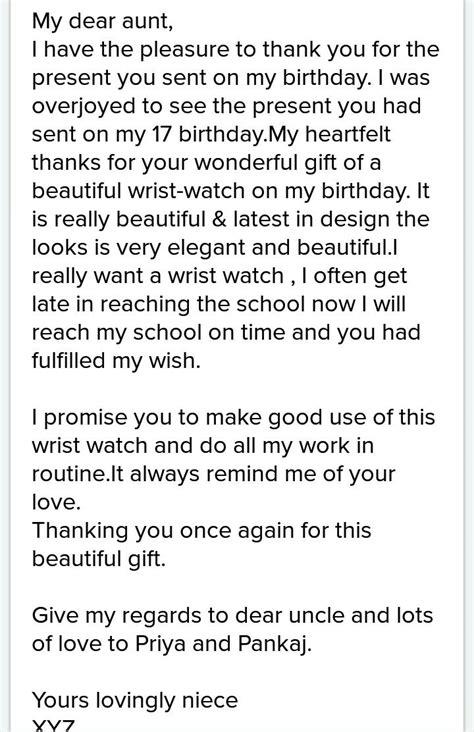 write  letter   aunt  thanking   birthday