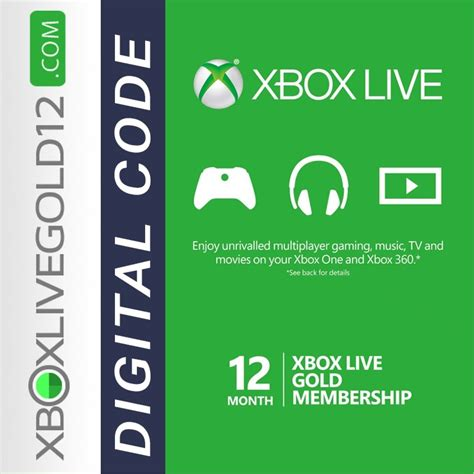 Xbox Live And Xbox Live Gold Xbox Live Gold 12 Month Digital Code