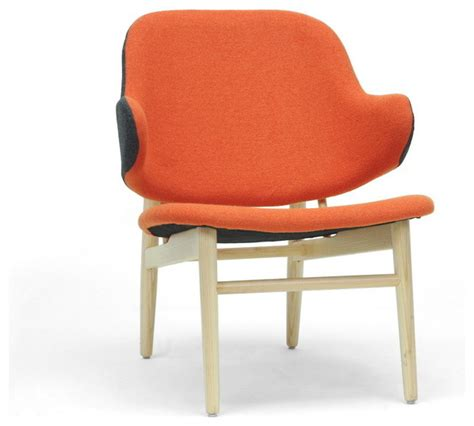 baxton studio kehoe gray and orange modern accent chair
