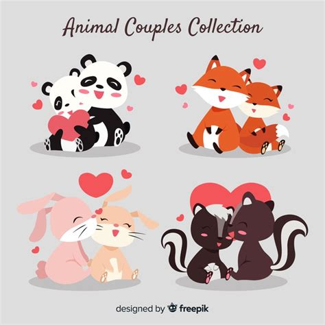 Free icons of couple in various design styles for web, mobile, and graphic design projects. Cute animal couples collection for valentines day Vector ...