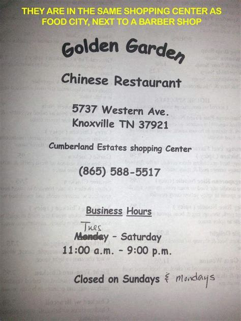 menu  golden garden chinese restaurant  knoxville tn