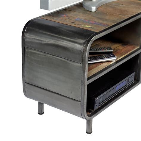 meuble tv 1 porte 2 niches en m 233 tal et bois de bateau