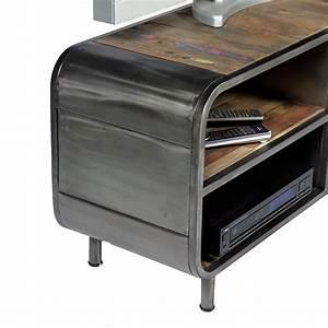 Meuble Tv Fer : meuble tv 1 porte 2 niches en m tal et bois de bateau recycl pas cher ~ Teatrodelosmanantiales.com Idées de Décoration