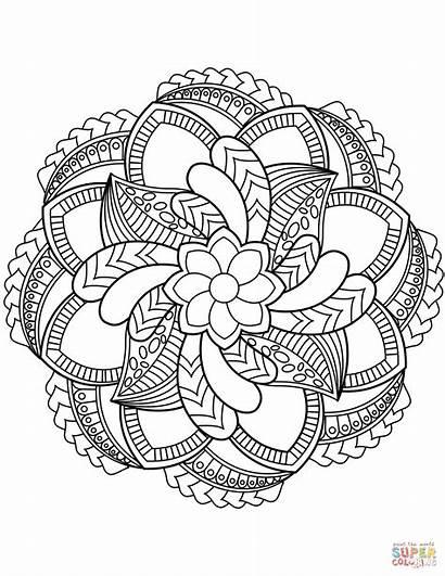 Coloring Mandala Flower Mandalas Pages Floral Printable