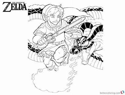Coloring Zelda Pages Link Legend Volvagia Fight