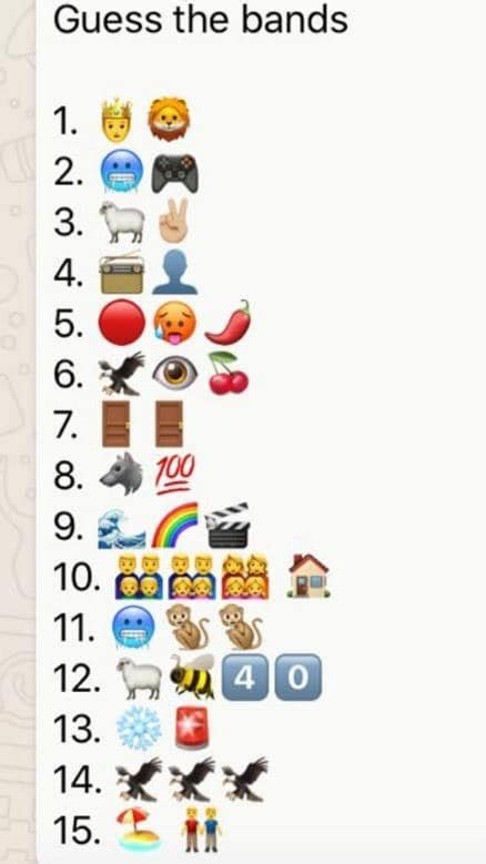 There are clues about the names of 16 famous music bands in the form of. I can't get no. 8 on this Emojis band quiz (more details ...