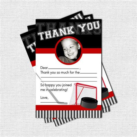 hockey thank you card template hockey thank you cards birthday print your by