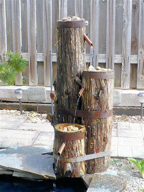 build  log  wood slice fountain  backyard