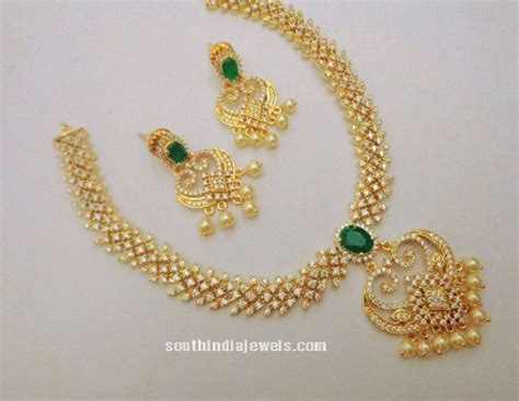 One Gram Gold CZ Stone Necklace  South India Jewels
