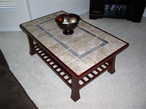 wooden table with tile top refinished coffee table with a tile top and new wood