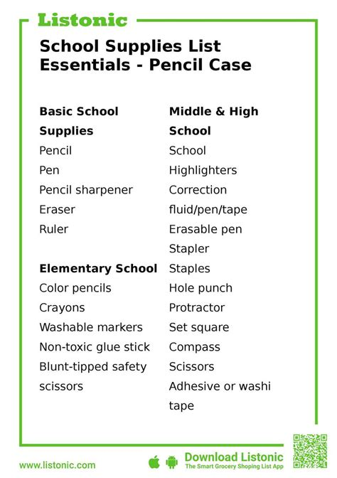 school supplies list essentials pencil case listonic